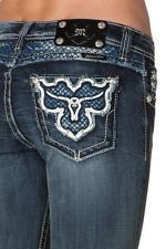 Miss Me Jeans Leather Long Horn Patch Steer Boot Cut Jeans 25 26 27 28 29 30 31