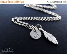 2 Day SALE - Feather Necklace in Silver Feather Necklace Sterling Silver Silver Feather Jewelry Feather Pendant  Personalized Jewelry by MyTinyStarShining on Etsy https://www.etsy.com/listing/257081307/2-day-sale-feather-necklace-in-silver