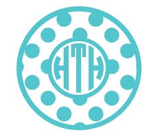 Personalized Polka Dot Circle Monogram Vinyl Decal