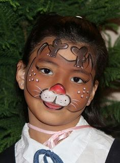 Reindeer Christmas face paint idea.