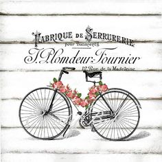 Vintage French Bicycle Roses Ephemera Black and by CreatifBelle