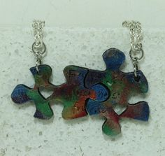 Puzzle Necklace set of 2 Forever my best by GirlwithaFrogTattoo, $26.00