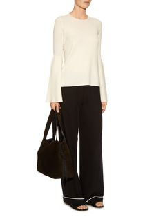 Darcy bell-sleeve cashmere silk-blend knit-top | The Row | MATCHESFASHION.COM