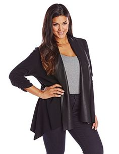 Karen Kane Plus Plus Faux Leather Collar Cardigan