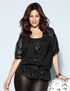 Give your look a little drama with our elbow sleeve sequin top shimmering with sequin zig zags. Fabulous sheer top layers over tops and dresses for a sensational style, flattering your figure with a surplice neckline and elastic drop waist. Flaunt your confidence in this hot number! lanebryant.com