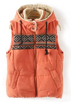 Orange Patchwork Print Hooded Band Collar Cotton Vest - Vests - Tops