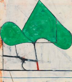 RICHARD DIEBENKORN 1922 - 1993 UNTITLED signed with the artist's initials and dated 81, gouache and crayon on paper. 12 1/2 by 11 in. Executed in 1981.