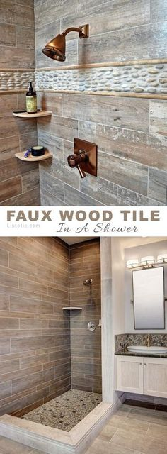 Wood tile in a shower! So rustic and pretty. Lots of beautiful and creative tile ideas for kitchen back splashes master bathrooms small bathrooms patios tub surrounds or any room of the house! - March 09 2019 at Wood Bathroom, Bathroom Renos, Bathroom Flooring, Master Bathrooms, Bathroom Ideas, Wood Tile Shower, Bathroom Cabinets, Bathroom Small, Kitchen Small