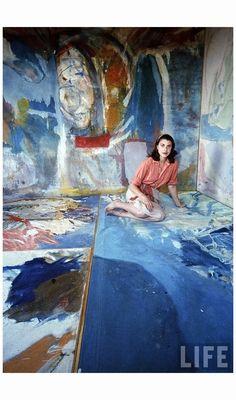 Painter Helen Frankenthaler sitting amidst her art 1956 Photo Gordon Parks