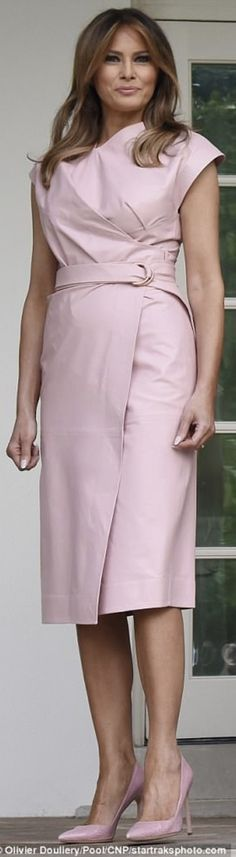 US First Lady Melania Trump opted for a soft pink Proenza Schouler wrap leather dress cut just below the knee, team with matching pink pumps, as they welcome The King and Queen of Jordan to the White House in Washington D. First Lady Of America, Us First Lady, First Ladies, Melina Trump, Melania Knauss Trump, Short Dresses, Dresses For Work, First Lady Melania Trump, Trump Melania