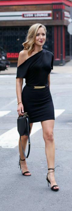 What to wear on a date {black off the shoulder mini dress, gold waist belt, black tie up heeled sandals, black handbag}