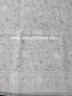 A white kurta fabric with chikankari embroidery, applique and heavy jaali work. It has all over jaal work and motifs at the back. Fourth image is of sleeves. Bottom and Dupattanotincluded Fabric:Cotton Length: 47 inches Sleeves Style:FullSleeves Technique : Hand and Machine Embroidery Wash Care : Hand Wash or dryclean