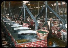 Re-firing pans of green tea  Enami Studio Lantern Slide No : 596.  About 1920's, Japan
