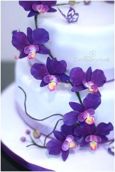 Purple Orchids - by KatyBakey @ CakesDecor.com - cake decorating website