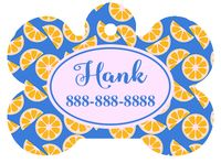 Personalized Oranges Pet Tag (Spring Time Design 1) with Steelheart Font