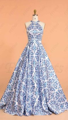 Halter print floral ball gown prom dresses long