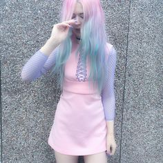 @kaylahadlington wearing our Current Mood Clothing Cinch dress   #DollsKill #CurrentMood #pastelprincess #pastelgoth #cyberqueen #prettyinpink #cyber #skaterdress