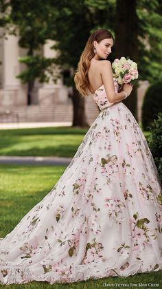 David Tutera mc spring 2017 bridal strapless sweetheart neckline ruched bodice floral prints pink color romantic ball gown a line wedding dress chapel train (117283) sdv #wedding #bridal
