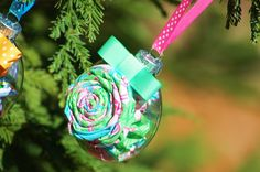 Lilly Fabric Floral Glass Holiday Ornament #LillyHoliday