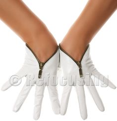 White Zip Leather Gloves