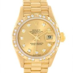 Pre-owned Rolex Datejust 79258 President 18K Yellow Gold Diamond... ($9,990) ❤ liked on Polyvore featuring jewelry, watches, diamond dial watches, logo watches, pre owned watches, gold watches and gold diamond jewelry