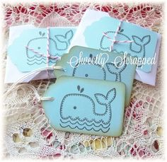 Baby Boy Blue Whale Tags Vintage Feel Shower by SweetlyScrappedArt Favor Tags, Gift Tags, Baby Whale, Vintage Tags, Baby Gifts, Card Making, Baby Boy, Whale Art, Paper Crafts