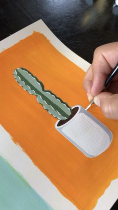 Potted Cactus Painting with gouache - Art // Illustration - Cactus Painting, Cactus Art, Cactus Drawing, Drawing Art, Cactus Plants, Drawing Sketches, Drawing Ideas, Easy Painting Projects, Painting Videos