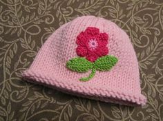 Knitted Baby Hat  Pink Hand Knit Baby Hat with by UpNorthKnits, $30.00