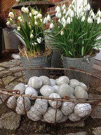 Concrete eggs en masse He Is Risen Indeed, Happy Easter, Beautiful Homes, Concrete, Planter Pots, Diy, Eggs, Spring, Holiday