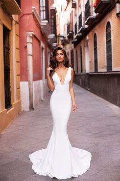 Jovana - White Mermaid Gown with Plunge Neckline & Long Train Bridal Dresses, Wedding Gowns, Prom Dresses, Fitted Wedding Gown, Satin Mermaid Wedding Dress, Crepe Wedding Dress, Lace Wedding, Mermaid Silhouette, Satin Gown