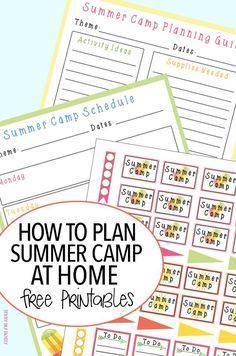 It's easy to plan a summer camp at home with these tips and an awesome FREE printable summer camp planner! Includes a summer camp planning guide, summer camp schedule, and summer camp themed planner stickers. Everything you need for a fun filled DIY summer camp for kids!
