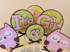 """Baby Shower """"Its a Girl"""" Owl Table Decorations/Cake Toppers - 6 piece set (Matches Baby Girl Owl Set). $10.50, via Etsy."""