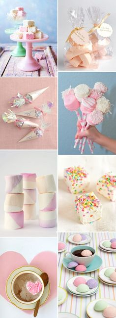 Marshmallow Wedding Ideas....Let's change the colors to BLUES for our Little Baby Boy's Shower!
