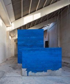 colored concrete, art object by adrian villar rojas