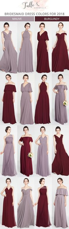 burgund and mauve bridesmaid dresses for 2018 #bridalparty #wedding #bridesmaiddresses