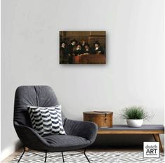 This reproduction on ceramic tiles of the artwork The Syndics is handmade. It has a total size of 54 x 75 cm and consists of 35 tiles of 11 x 11 cm. We supply this tableau with a custom-made hanging system that allows you to hang it firmly and easily on the wall. The original painting is part of the collection of Rijksmuseum.