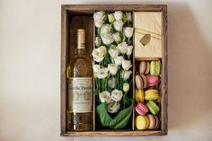 Potential Event: Partner with Spin the Bottle, a bakery and create a paper flower bouquet or real one in our store Flower Box Gift, Flower Boxes, Flowers, Wine Gift Boxes, Wine Gifts, Gift Hampers, Gift Baskets, Holiday Gifts, Christmas Gifts
