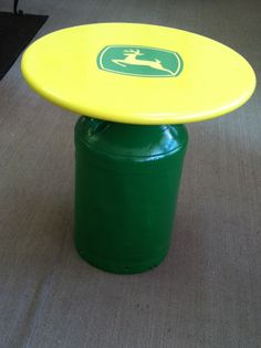 John Deere Cream Can Table John Deere Crafts, John Deere Decor, John Deere Kitchen, Milk Can Table, John Deere Bedroom, John Deere Kids, Painted Glass Blocks, Old Milk Cans, Lego Craft