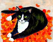 "ACEO cat art print  ""A Cat On Fallen Leaf Mat "" cat lover gift unique tuxedo cat desk art (25)"