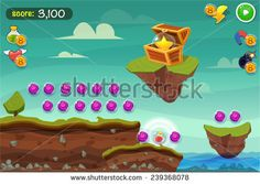 Cartoon game design - nature landscape, background stone,  clouds and resources for game mobile  - stock vector