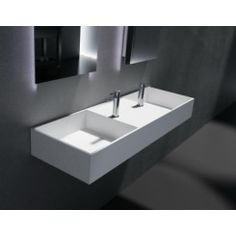 """Luxurious double basin made of """"Silk"""", a stone composite (solid-surface) material, in glossy gel-coat finish. Wall-hung or above-counter installation. Wall Mounted Basins, Wall Mounted Bathroom Sinks, Single Bathroom Vanity, Vanity Sink, White Bathroom, Solid Surface, Kitchen Sink Design, Modern Sink, Mirror Cabinets"""