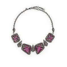 Alexis Bittar Marcasite Caged Lucite Bib Necklace - Plum | Find.com  #bib #necklace #accessories #fashion