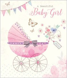 New Baby Girl - Pink Pram - Eleri Fowler for Abacus Cards - Greetings Cards, Gift Wrap & Stationery elerifowler.com