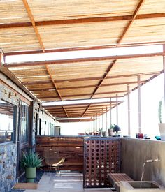 The outdoor area of a motel room in the desert.