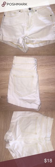 """BULLHEAD"" PacSun light denim high-waisted shorts Light faded color denim high-waisted shorts with gold stitching. Worn once. Size 1 PacSun Shorts Jean Shorts"