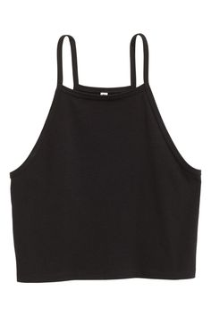 Short strappy top - Cropped - Ideas of Cropped - Cropped Top Blusas Crop Top, Crop Top Shirts, Crop Tank, Cute Crop Tops, Black Crop Tops, Teen Fashion Outfits, H&m Fashion, Petite Fashion, Curvy Fashion