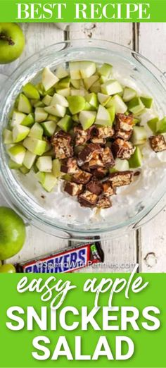 Snickers Salad is the best recipe to make for game day. This dessert will impress your guests with its refreshing crunchy ingredients! Easy Summer Meals, Summer Recipes, Great Recipes, Favorite Recipes, Snicker Apple Salad, Apple Snickers Salad, Dessert Salads, Dessert Recipes, Healthy Food Recipes
