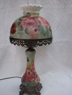 Glass Lamp with hand painted Roses by RosebudStudiosChina on Etsy, $189.00