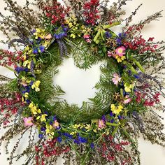 Happy new year from the wild flowers of be happy and safe and have a lovely 2020 . Promise last wreath of the year . Have fun