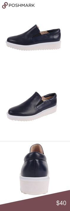 Claetyn Wood Platform Loafer Perforated Italian leather platform sneaker with a treaded rubber sole.   Leather and linen upper Leather insole Treaded rubber sole 1 inch wedge Made in Italy Claetyn Wood Shoes Flats & Loafers